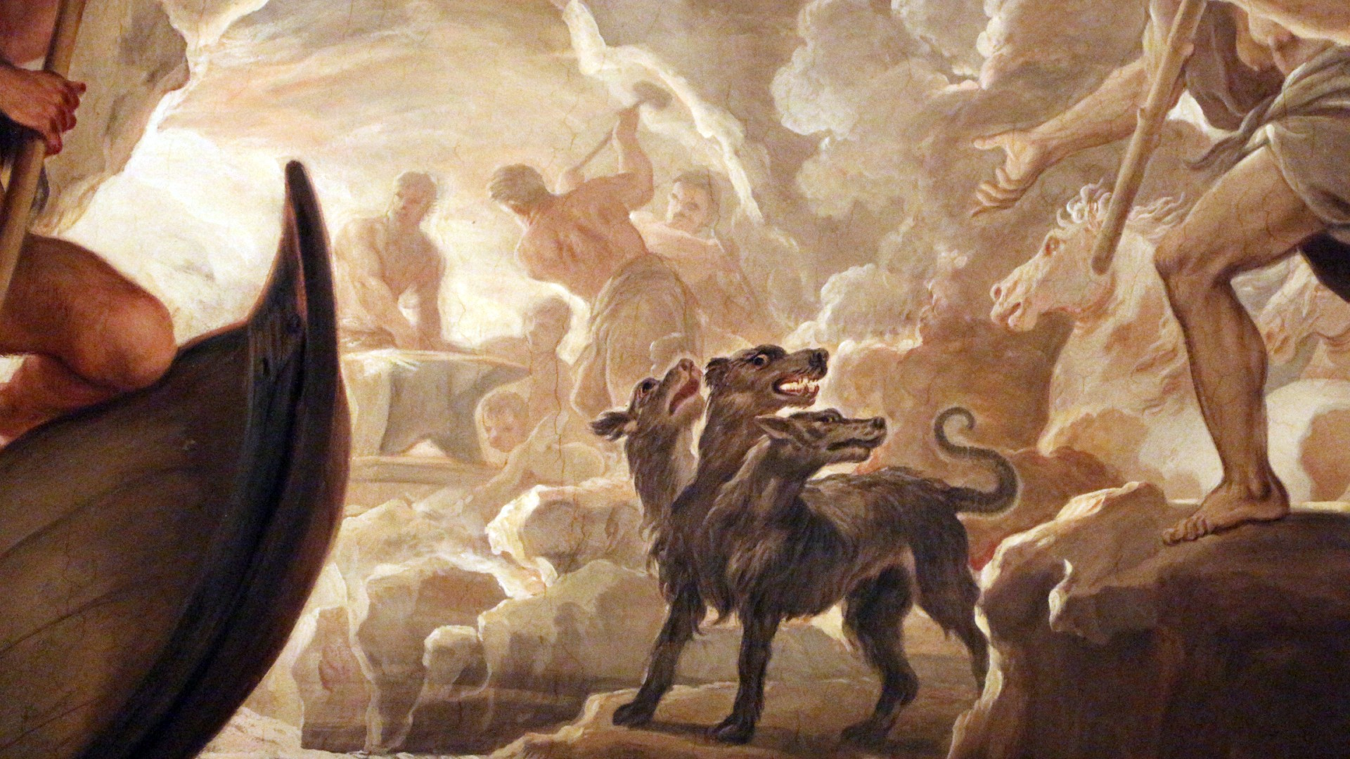 Galleria di luca giordano 1682 85 inferi 10 cerbero e fucina di vulcano